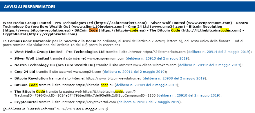 bitcoin code consob