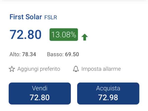 comprare azioni first solar con plus500