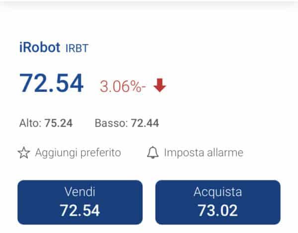 comprare azioni iRobot con plus500