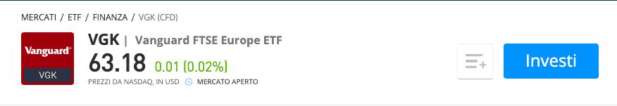 Vanguard FTSE Europe ETF etoro