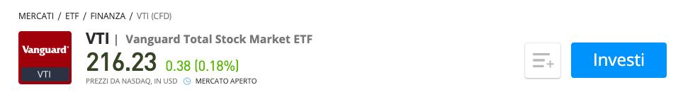 Vanguard Total Stock Market ETF VTI etoro